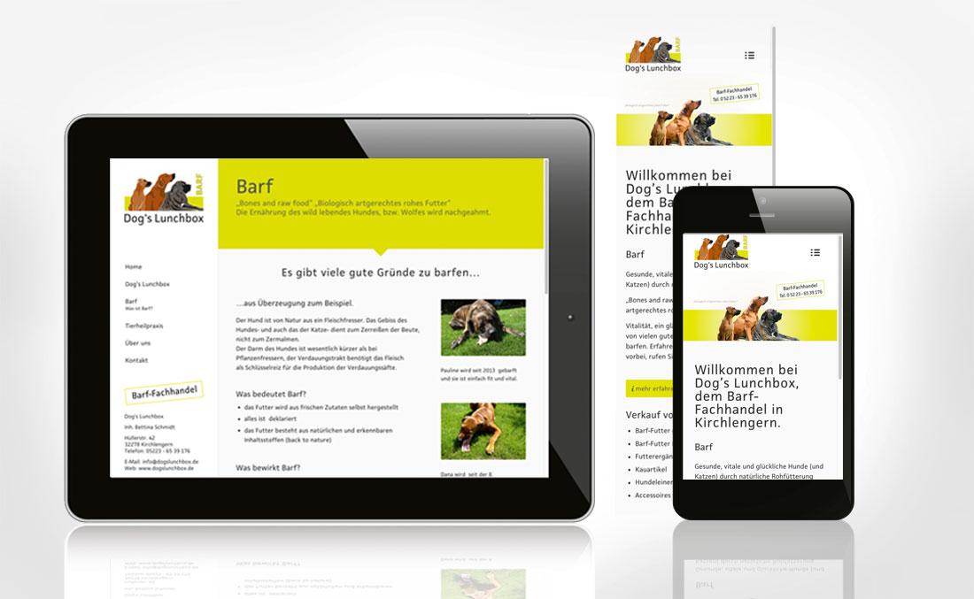Responsive Webdesign für Dog´s Lunchbox -mobil